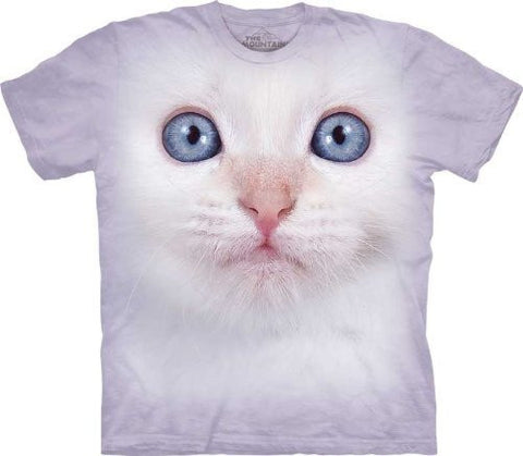White Kitten Face The Mountain Tee Shirt Child S-XL Adult M-XXX Size: Child XL