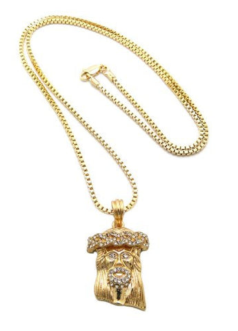 "Gold Tone Iced Out Jesus Micro Pendant 2mm 30"" Box Chain Necklace MMP5GBX"
