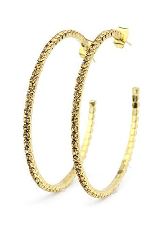 Fancy Yellow Swarovski Elements 45mm Flex Hoop Earrings in Gold-Tone MADE IN KOREA IKE1001GB