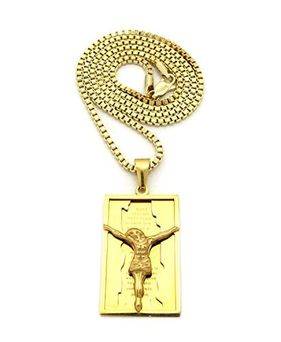 "Polished Stainless Steel Crucifix Jesus Pendant 2.5mm 24"" Box Chain Necklace in Gold-Tone"