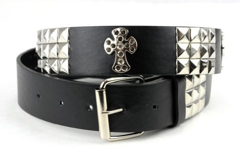 Women's Faux Studded Leather Fashion Belt w/ Cross