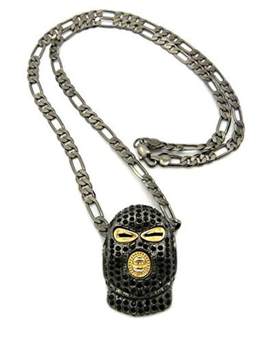 "Iced Out Goon Ski Mask Man Pendant with 5mm 24"" Figaro Chain - Black/Hematite-Tone"