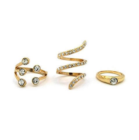 Crown, Swivel, Solitaire 3 Piece Rhinestone Accent Ring Set