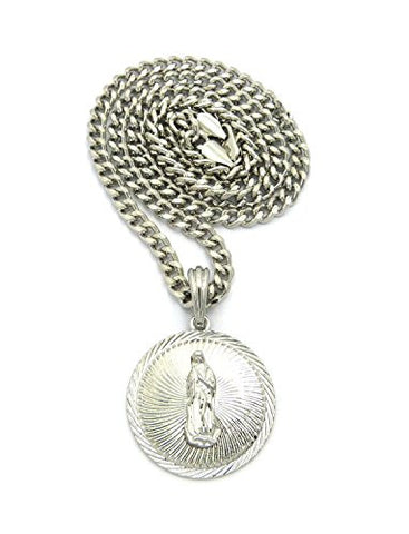 "Embellished Saint Mary Medal Pendant w/ 5mm 24"" Cuban Chain Necklace in Silver-Tone"