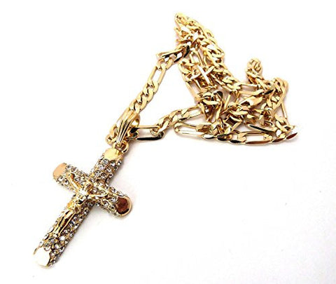 "Pave Passion Crucifix Cross Jesus Pendant with 24"" Figaro Chain Necklace - Gold-Tone MSP158G"