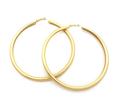 "Sleek Omega Chain Look 3.75"" Tube Hoop Earrings in Gold-Tone"