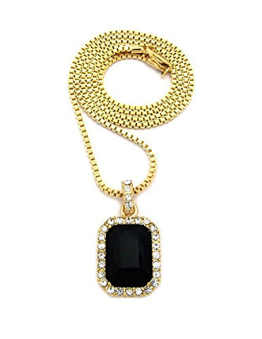 "Rectangular Faux Onyx Stone Pendant w/ 2mm 24"" Box Chain Necklace in Gold-Tone"