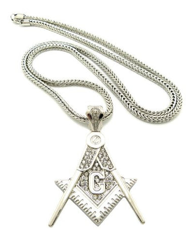 "Iced Out Silver Tone Square and Compass Pendant 4mm 36"" Franco Chain XP925R"