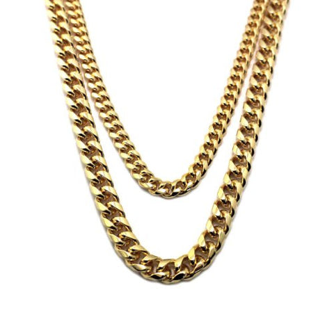 Hip Hop Rapper Look Multi-Length Two Chain Necklace Set in Gold-Tone