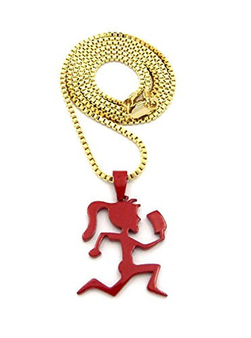 "Dipped Red Hatchetgirl Pendant w/ 2mm 24"" Box Chain Necklace in Gold-Tone"