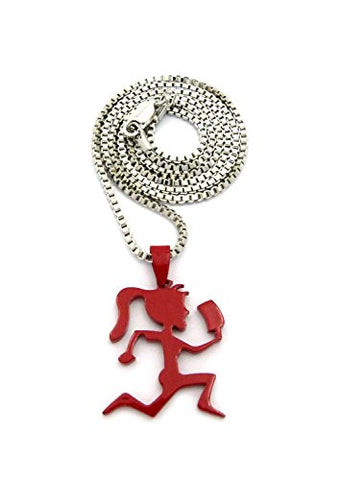 "Dipped Red Hatchetgirl Pendant w/ 2mm 24"" Box Chain Necklace in Silver-Tone"