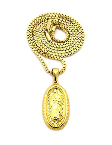 "Plain Stainless Steel Oval Virgin Mary Pendant 2mm 24"" Box Chain Necklace in Gold-Tone"