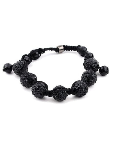Jet Black Rhinestone Ball w/ Faux Glass Bead Ends Shamballa Bracelet MB11BK