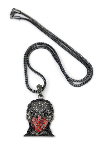 "Iced Out Hematite/Red Tone Ninja Pendant 3mm 22.5"" Franco Chain HC4064HERD"