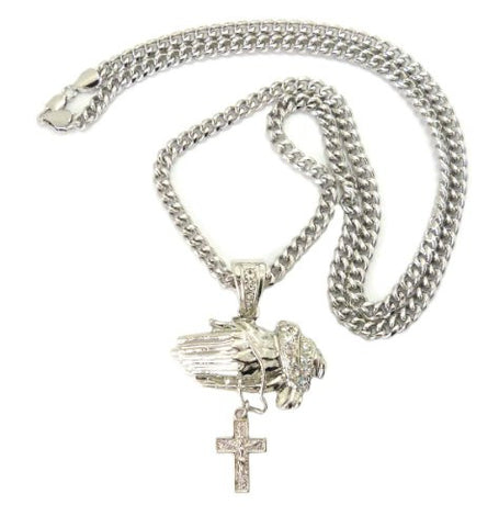"Praying Hands & Cross Pendant in Silver Tone w/ 36"" Miami Cuban Chain CP50R"