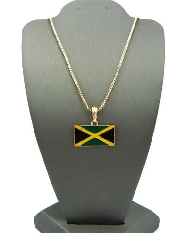 "Jamaica Flag Pendant with 2mm 24"" Box Chain Necklace - Gold-Tone"