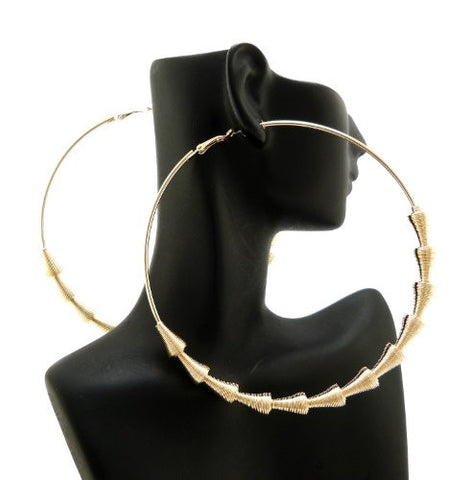"Cone Shape Chain Wrap 3.85"" Big Hoop Earrings in Gold-Tone"
