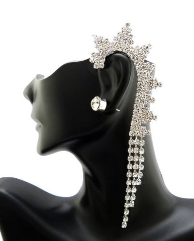 Snowflake Design Rhinestone Ear Cuff with Stud Earring in Silver-Tone