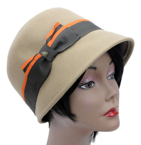 Ladies Soft 100% Wool Women's Cloche Bucket Hat w/Bow Accent CL1652
