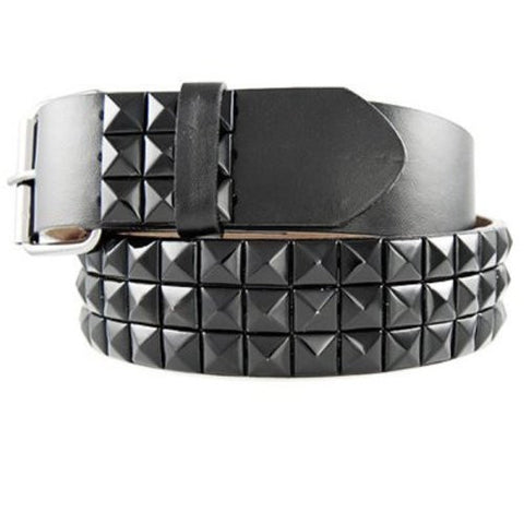 Geniune Leather Studded Belt with Black Studs