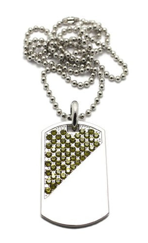 "Diagonal Cut Pave Dog Tag Pendant in Silver Tone w/ 30"" Ball Chain CP104R"