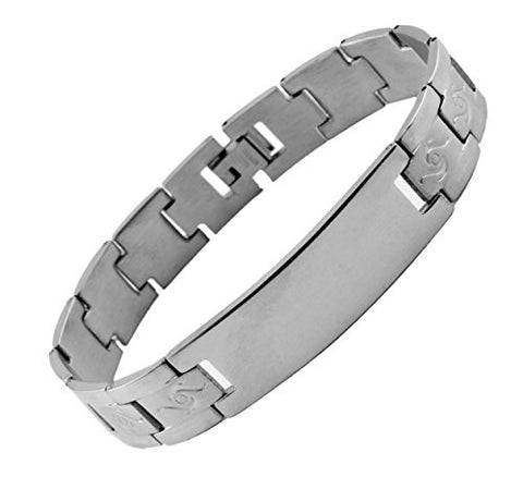 NYfashion101 Men's Fashionable Silver-Tone ID Stainless Steel Bracelet 4018