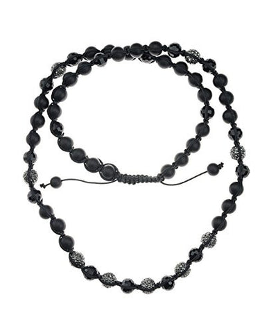 Mixed Bead Chain Shamballa Necklace with Hematite-Tone Encrusted Balls MHC11HE