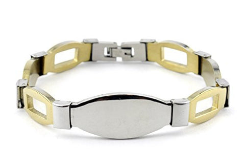 NYfashion101 Men's Fashionable Two-Tone ID Stainless Steel Bracelet 4032