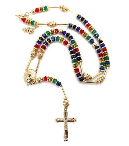 "Gold/Multi Tone Praying Hands Jesus Cross 39"" Glass Beads Rosary Necklace"