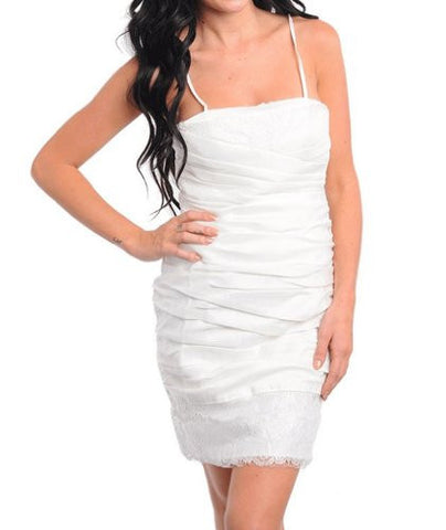 NYfashion101 Spaghetti Strp Ruched White Dress w/Lace Trim