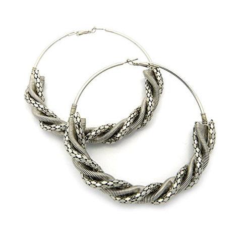 Twist Chain Accent Hoop Earrings in Silver-Tone JE4004RD