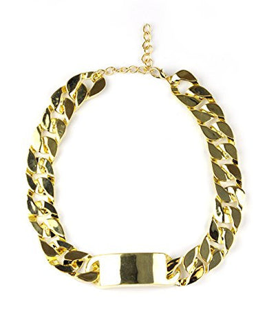 "Weighted 15mm 15"" + Extension Curb Chain ID Necklace in Gold-Tone"