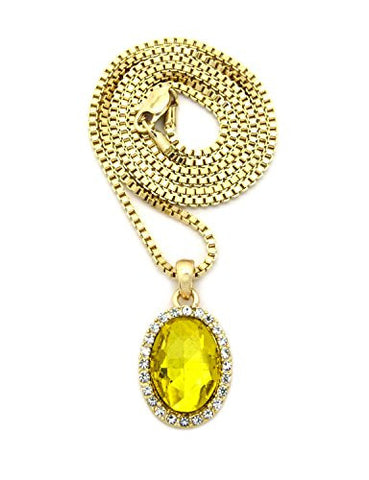 "Pave Oval Yellow Stone Pendant w/ 2mm 24"" Box Chain Necklace in Gold-Tone"