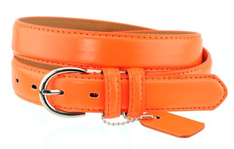 Nyfashion101 Women's Basic Leather Dressy Belt w/ Round Buckle H001-Orange-S
