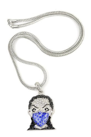 "Iced Out Silver/Blue Tone Ninja Mask Pendant 3mm 22.5"" Franco Chain HC4064RBL"