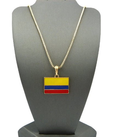 "Columbia Flag Pendant with 2mm 24"" Box Chain Necklace - Gold-Tone"