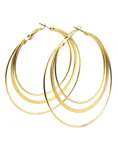 High Quality Hypo-Allergenic Gold Tone 3 Ring Flat Hoop Earrings MADE IN USA