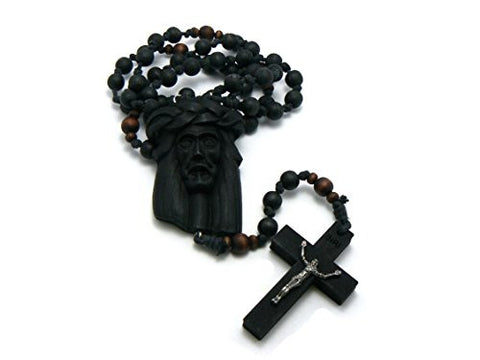 Jesus Face and Crucifix Cross Wood Necklace