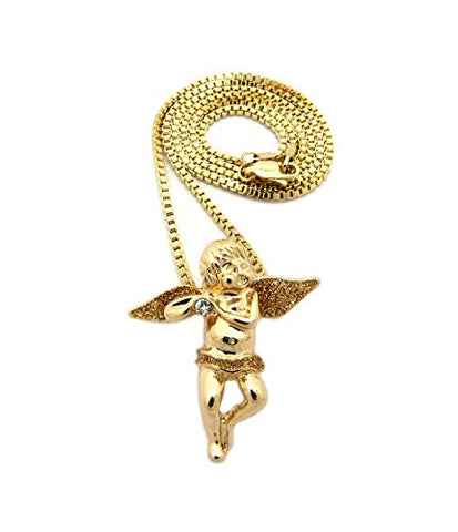 "Solitaire Angel Gold-Color Glitter Micro Pendant 2mm 24"" Box Chain Necklace in Gold-Tone"