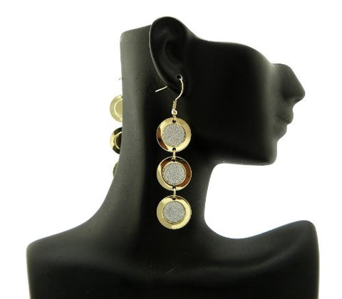Shimmer Circle Drop Earrings in Silver/Gold-Tone