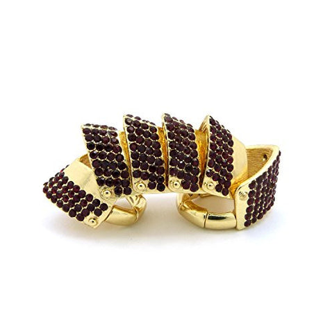 Paved Armor Look Flex Finger Ring in Red/Gold-Tone HR1073GDRED