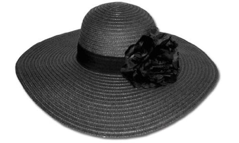 Women's Straw Paper Wide Brim Floppy Hat W/Flower FL1466