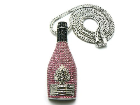 "Paved Champagne Bottle Pendant in Silver/Pink Tone w/ 36"" Franco Chain MHP5RPK"