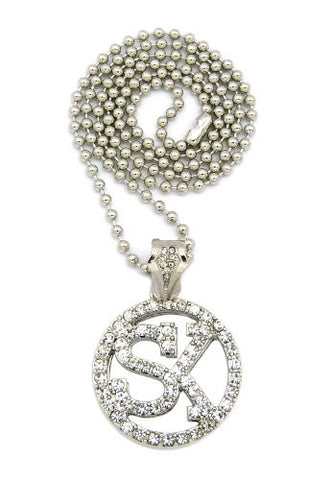 "Iced Out Street King SK Micro Pendant 3mm 27"" Ball Chain Necklace in Silver-Tone"
