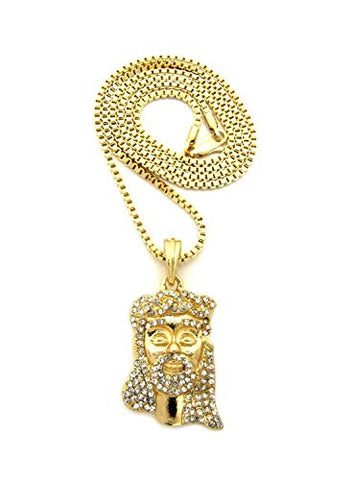"Stone Studded Crown of Thorns Jesus Face Pendant 2mm 24"" Box Chain Necklace in Gold-Tone"