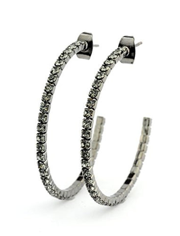 Clear Swarovski Elements 35mm Flex Hoop Earrings in Hematite-Tone MADE IN KOREA IKE1000HB