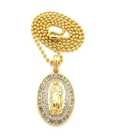 "Sparkle Pave Oval Jesus Pendant 3mm 27"" Ball Chain Necklace in Silver/Gold-Tone"