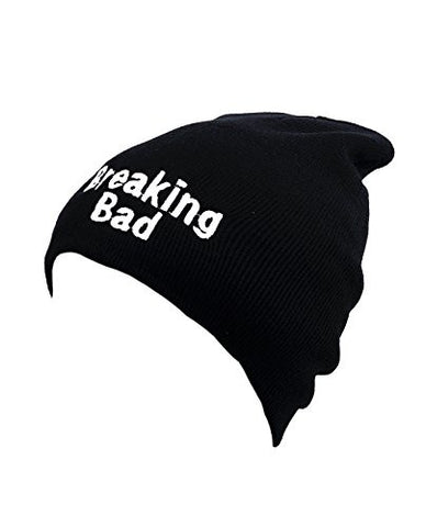 Breaking Bad Patched Logo Unisex Black Slouch Warm Knit Long Beanie Hat