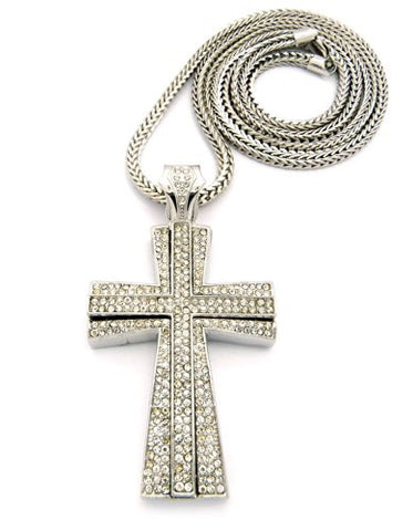 Iced Out Layered Cross Pendant w/ 4mm 36' Franco Chain - Silver Tone XP667R