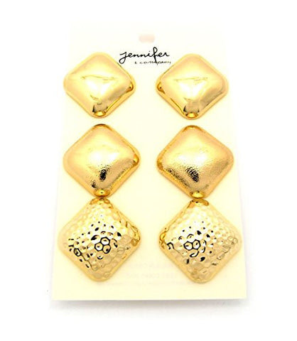 Assorted Rounded Square Stud Earrings 3 Piece Set